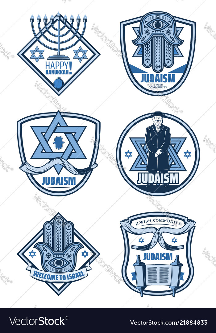Judaism religion and hanukkah holiday icons