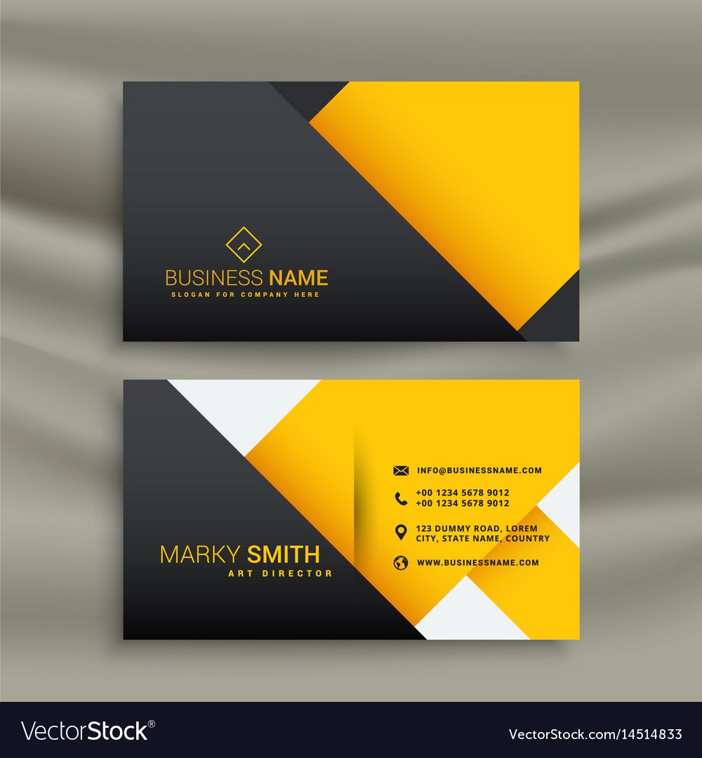 Minimal yellow and black business card design Vector Image