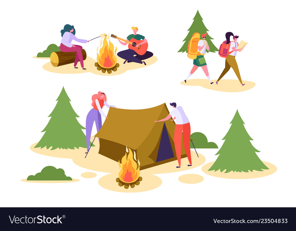 People camping forest nature set man woman walk