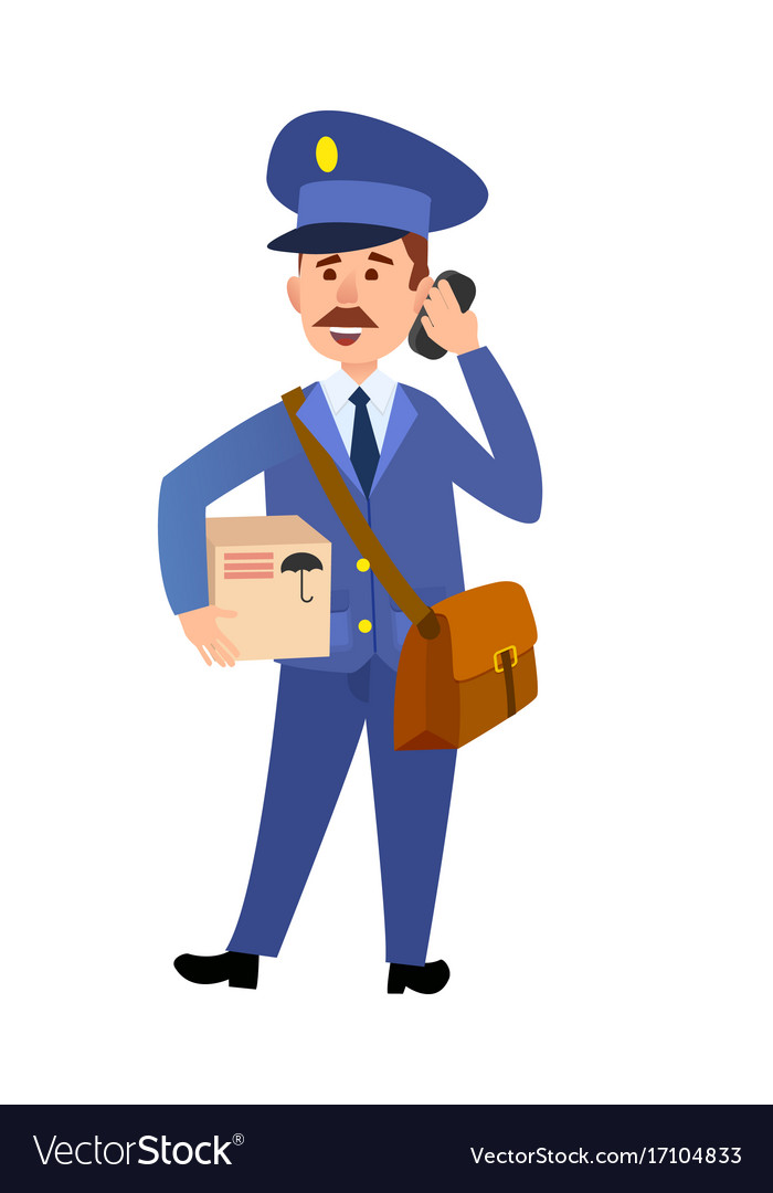 Postman delivering parcel isolated cartoon vector image