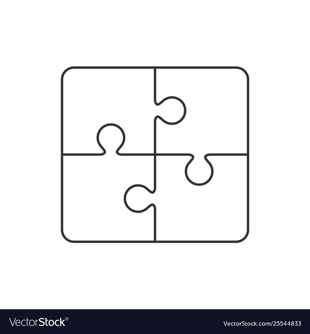 Puzzle outline icon on white