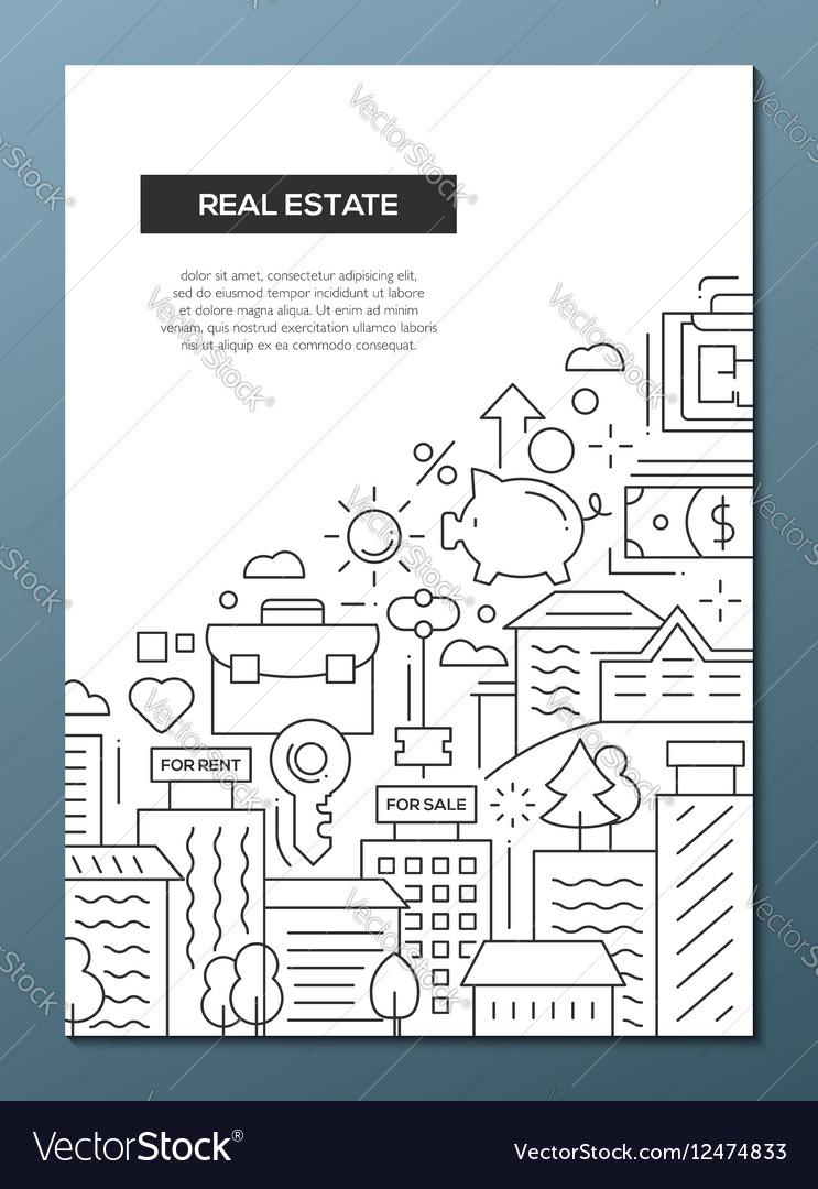 Real Estate - line design brochure poster template