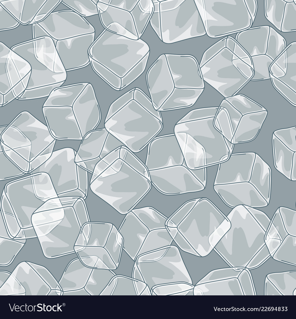 Seamless pattern with ice cubes