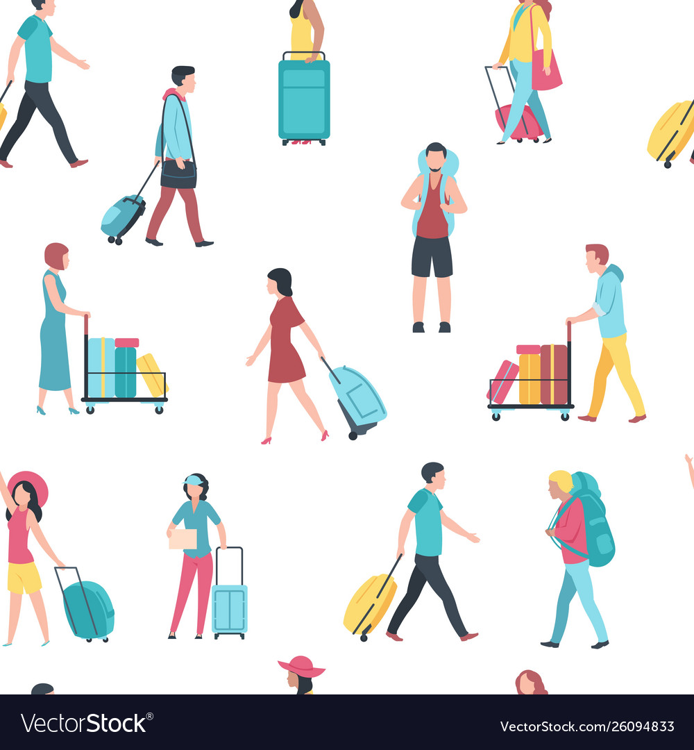 Seamless pattern with travel people airport