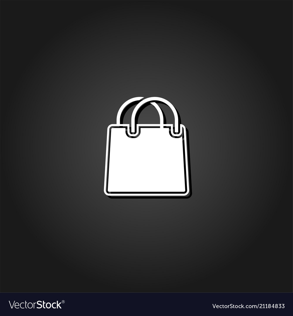 Shopping bag icon flat