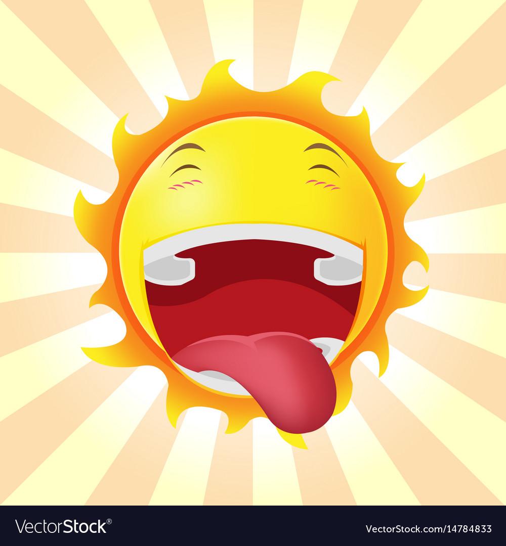 Sun face happy cartoon emotion vector image