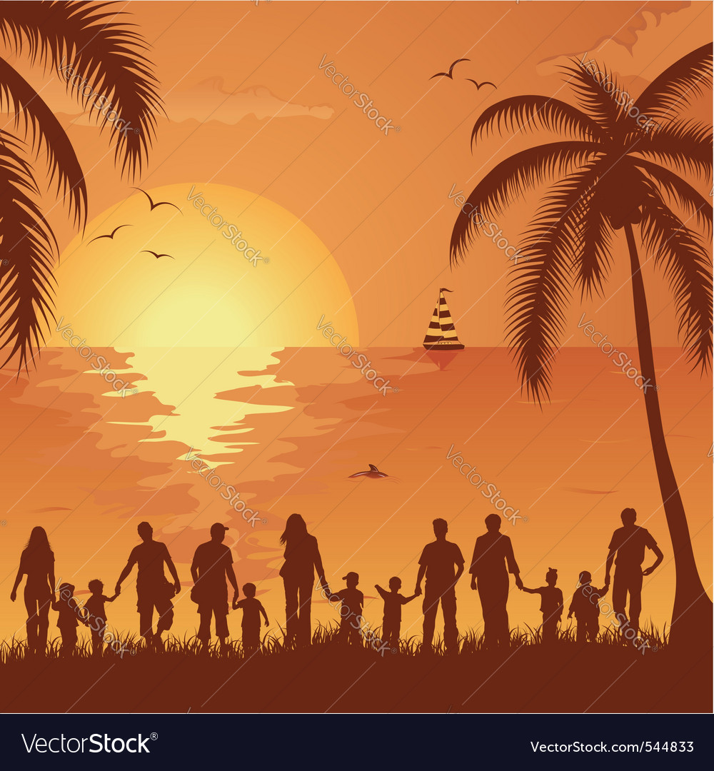 Tropical family vacation vector image