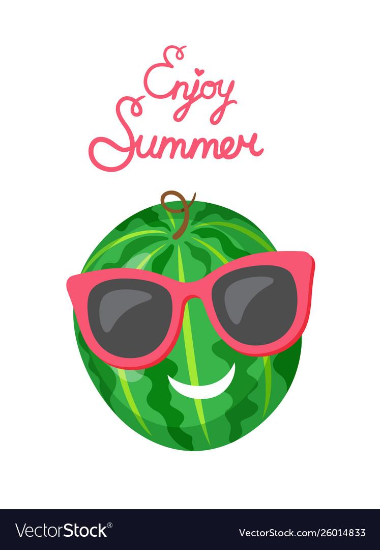 Watermelon in sunglasses isolated cartoon fruit