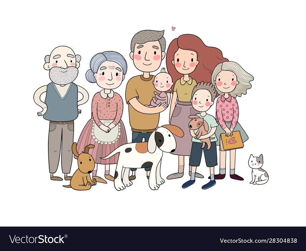 A happy family parents with children cute