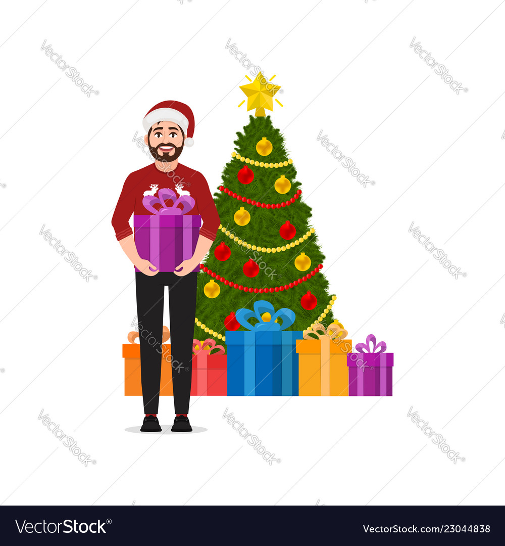A man holds a gift christmas tree with gifts on