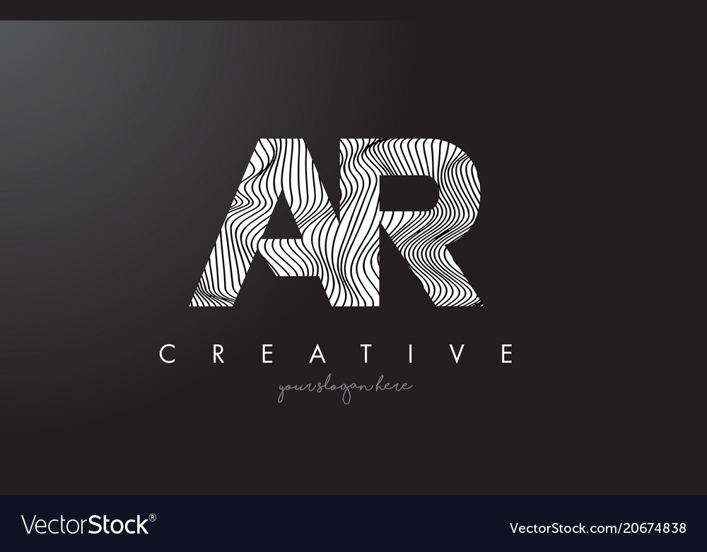 Ar a r letter logo with zebra lines texture