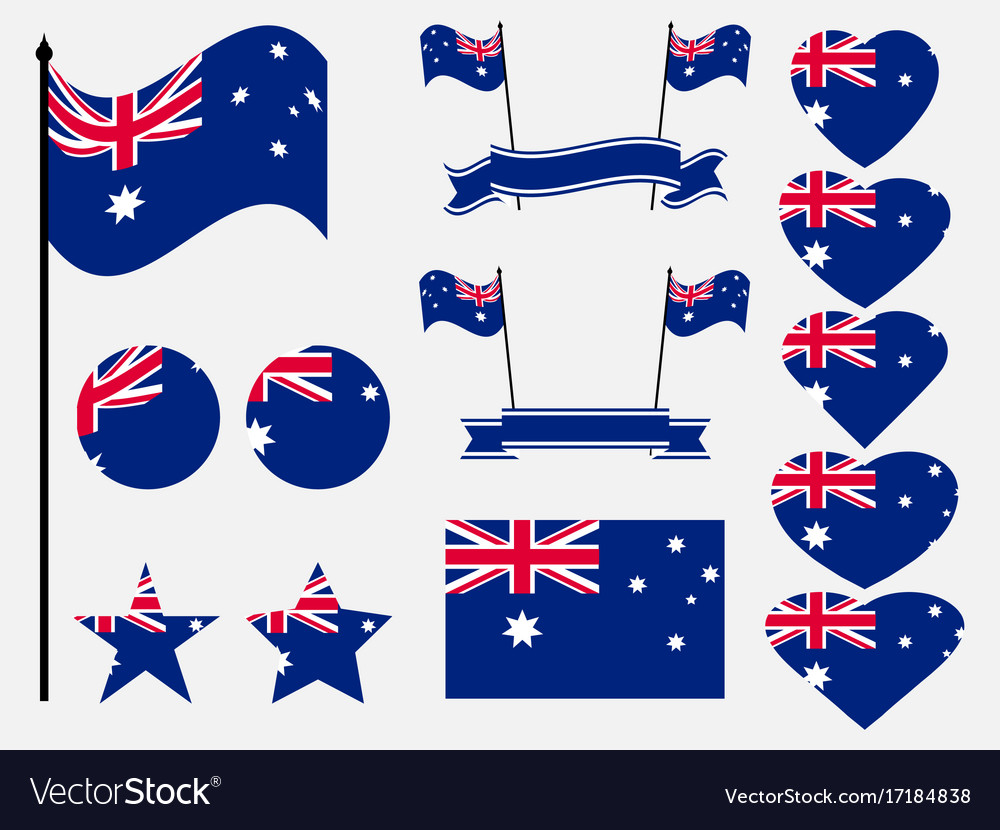 Australia Flag Set Collection Of Symbols Flag Vector Image