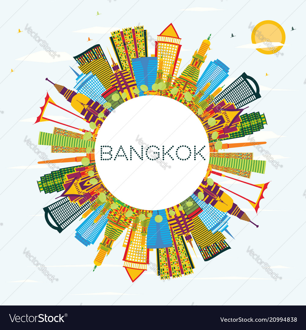 Bangkok thailand skyline with color landmarks