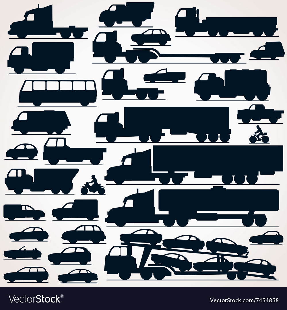 Car Icon Set Side View Silhouettes