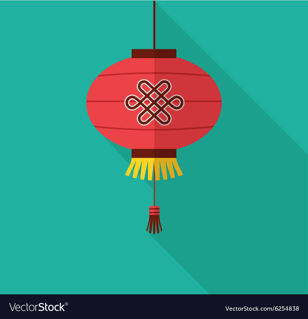 Chinese new year clean flat design with lantern