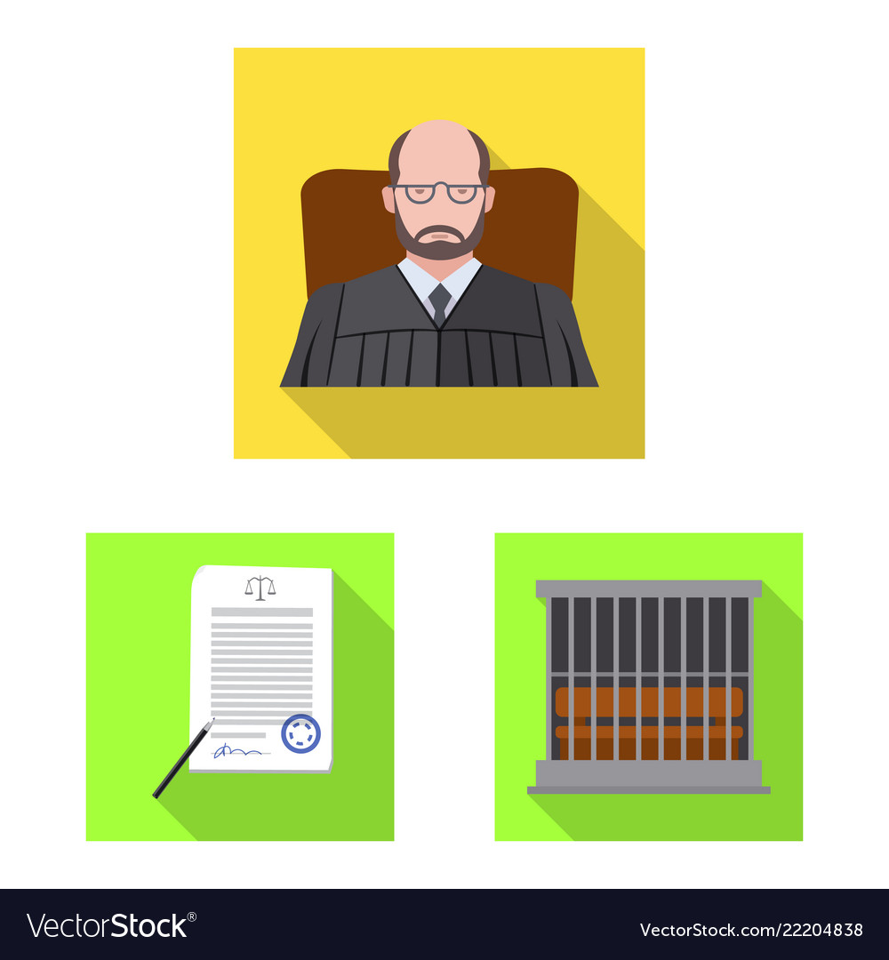 Isolated object of law and lawyer icon collection