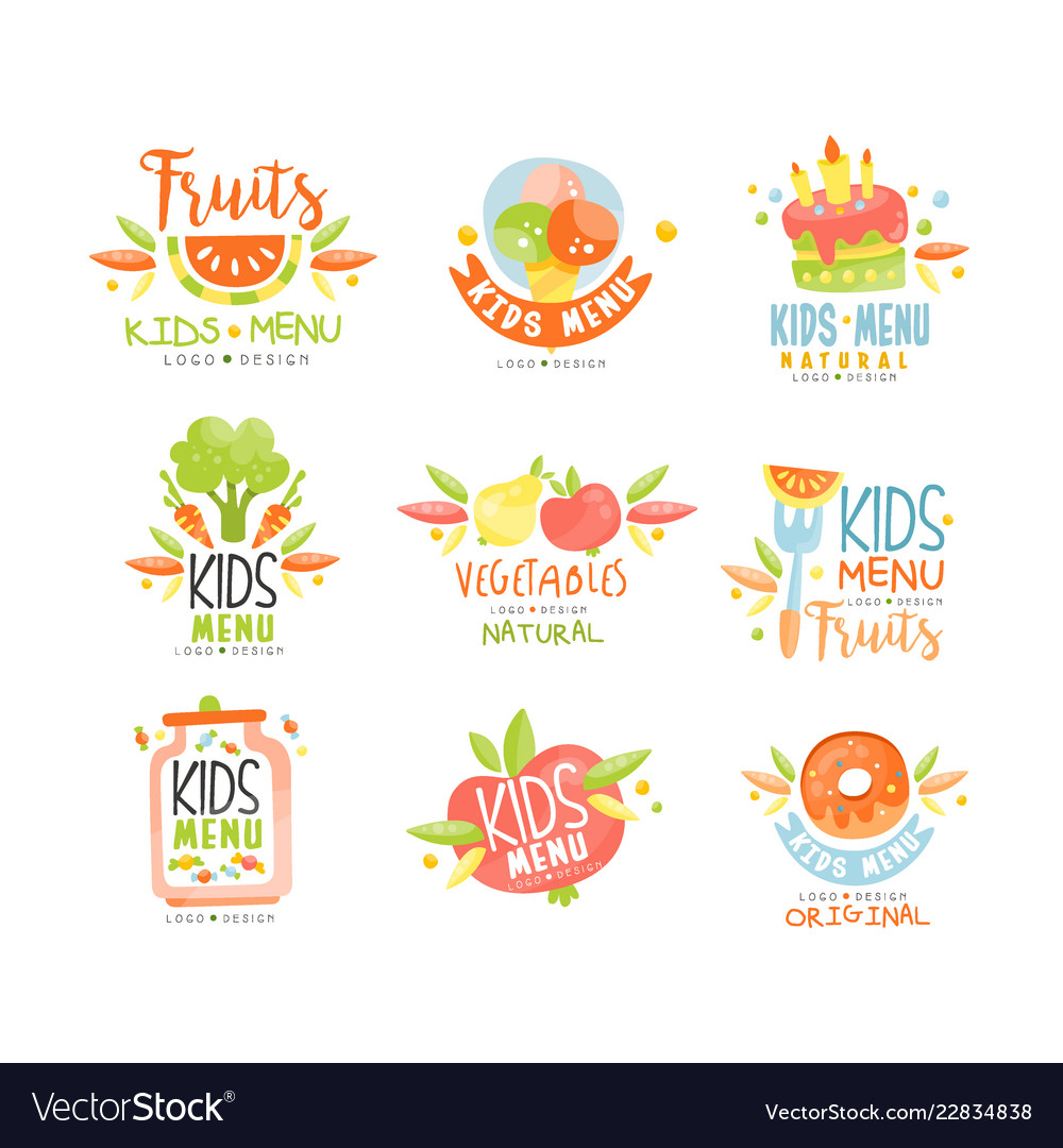 Kids menu natural food logo original colorful
