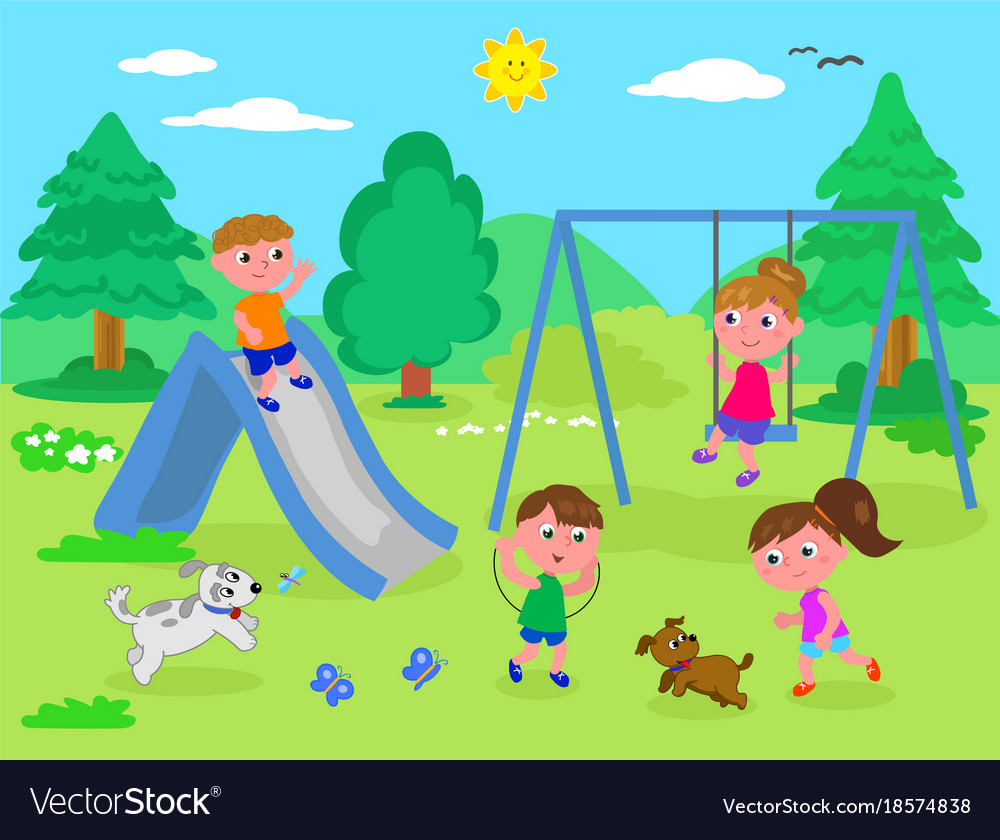 Kids playing at the park Royalty Free Vector Image