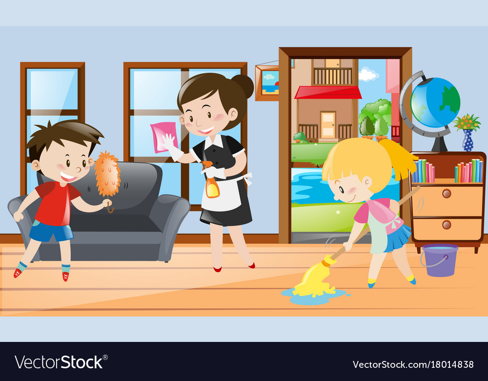Maid And Kids Cleaning The Room Vector Image