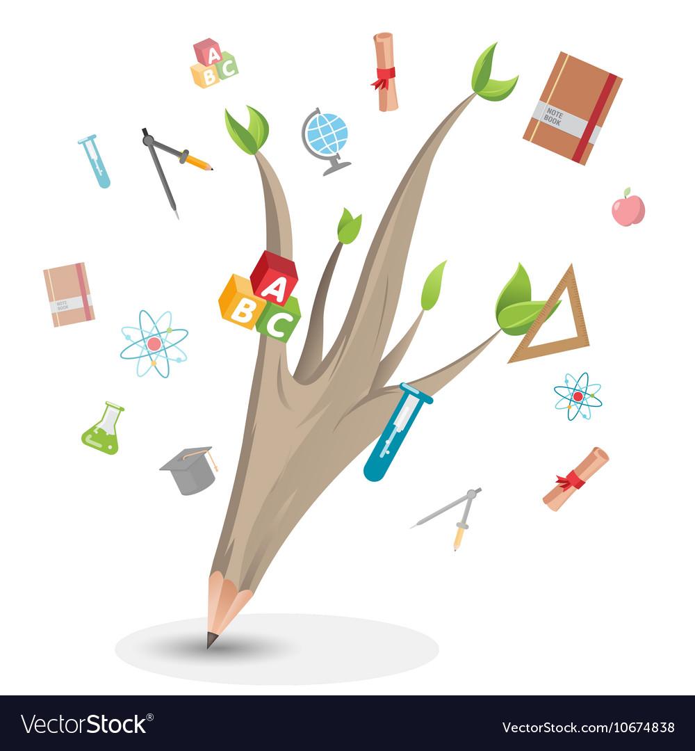 Pencil Leaf Tree Education School