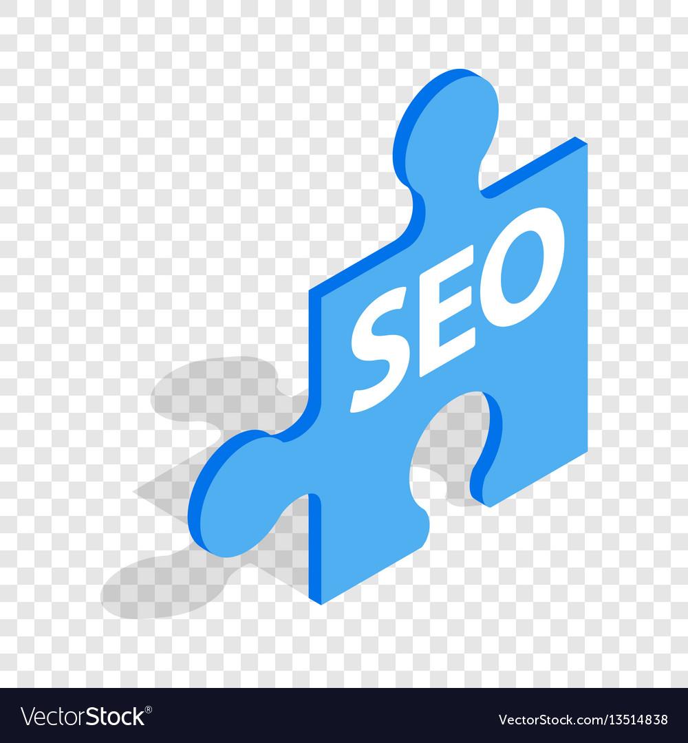 Seo blue puzzle isometric icon vector image