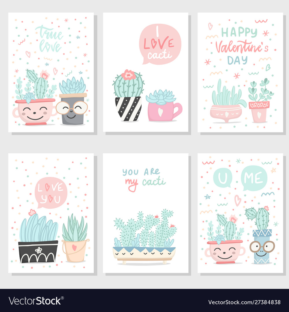 Set postcards with succulents and cactuses