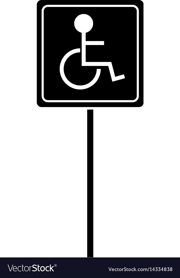 Silhouette disabled person wheelchair sign road vector image
