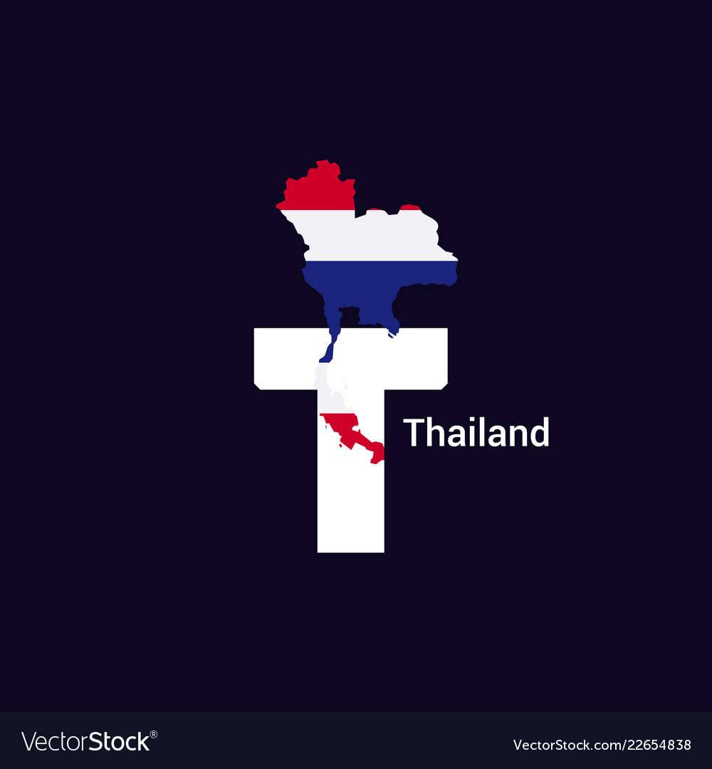 Thailand initial letter country with map and flag