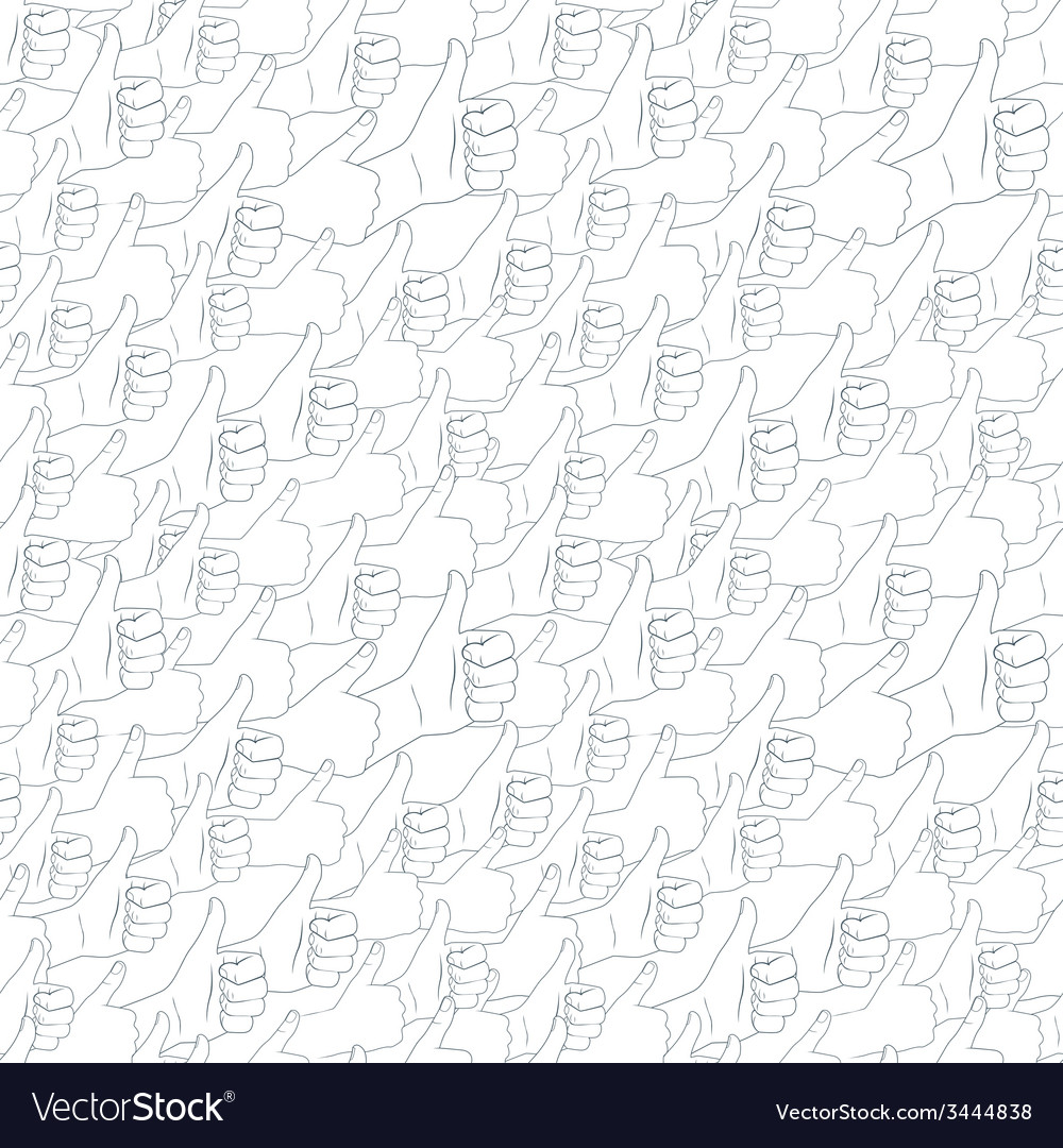 Thumbs up Drawn by hands seamless pattern Flat