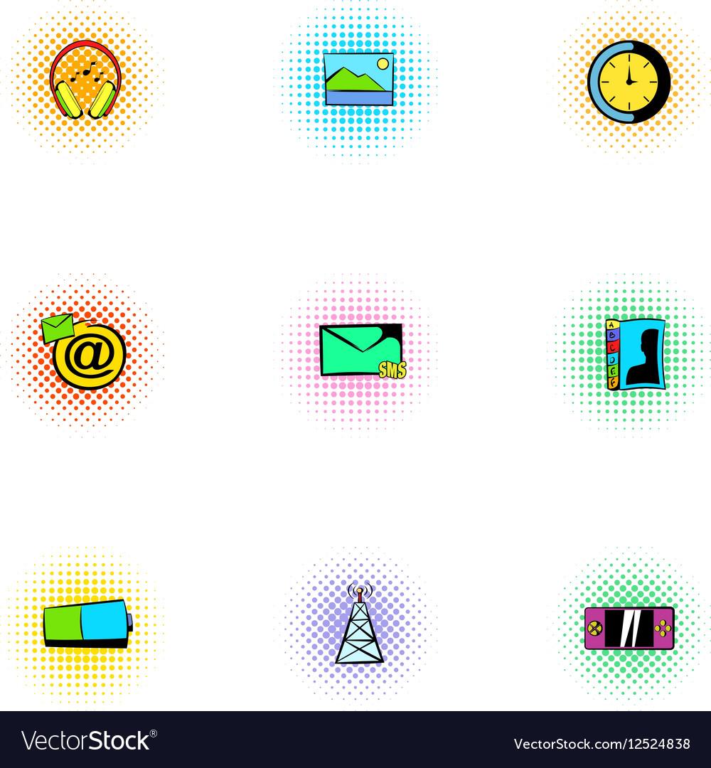 Web communication icons set pop-art style