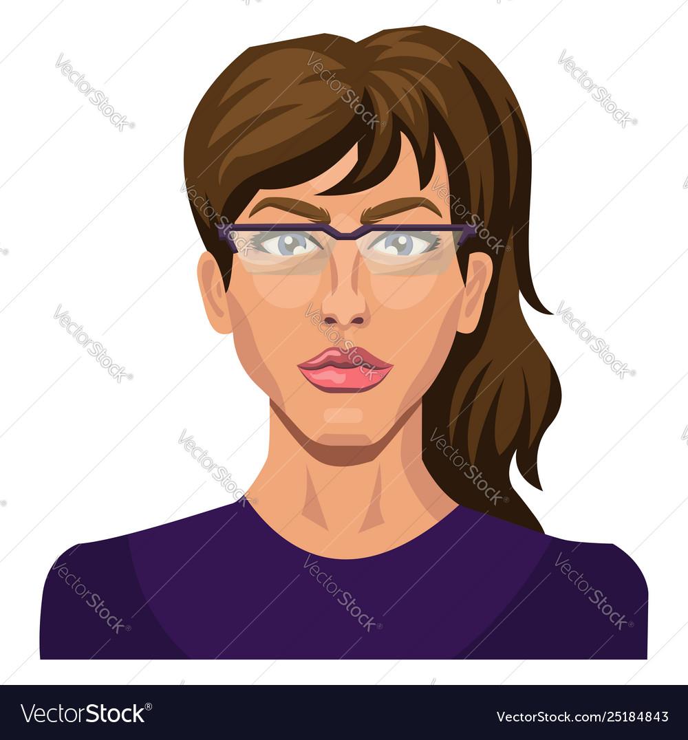 Brunette girl with glasses on white background