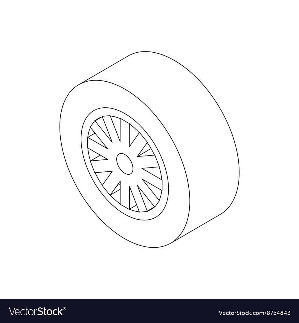 Car Wheel Icon Isometric 3d Style Royalty Free Vector Image