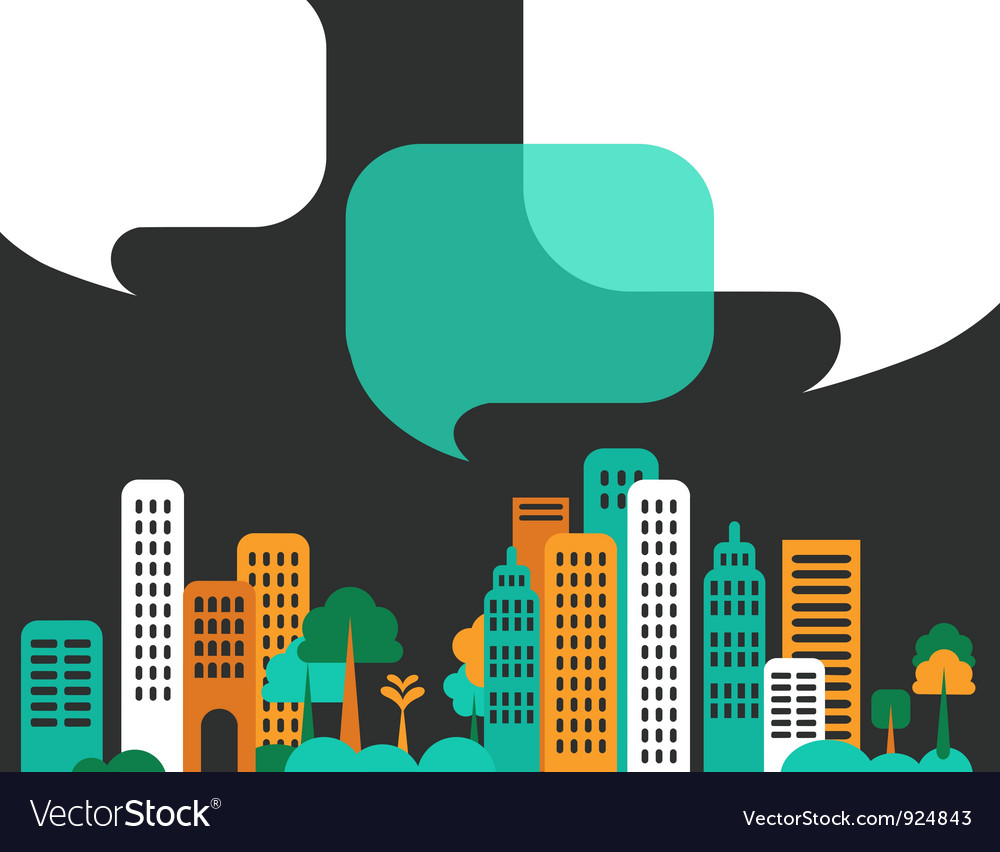 City talks buildings vector image