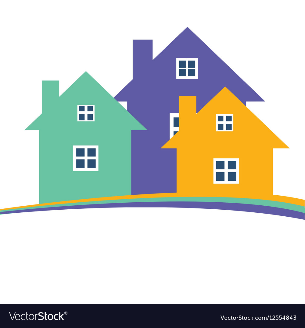 Color residential buildings logo