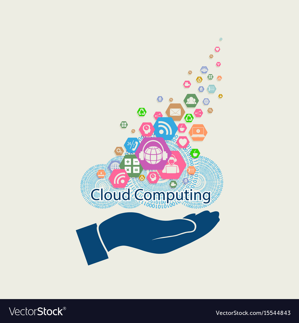 Computer cloud with hand silhouette vector image
