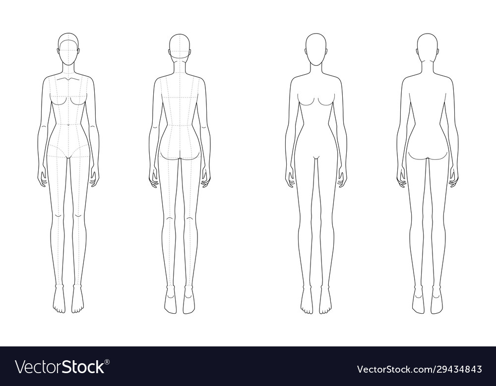 Fashion Template Standing Women Royalty Free Vector Image