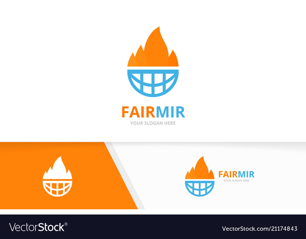 Fire and planet logo combination flame and vector image