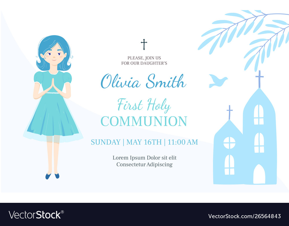 First Holy Communion Invitation Design Template