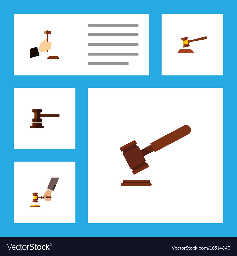 Flat icon hammer set of crime law government vector image
