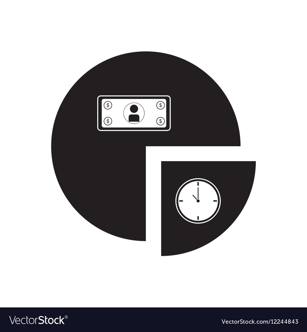 Flat icon in black and white financial chart