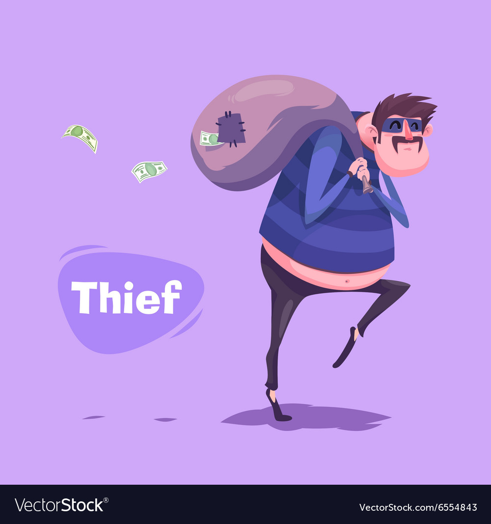 Funny thief character Isolated vector image