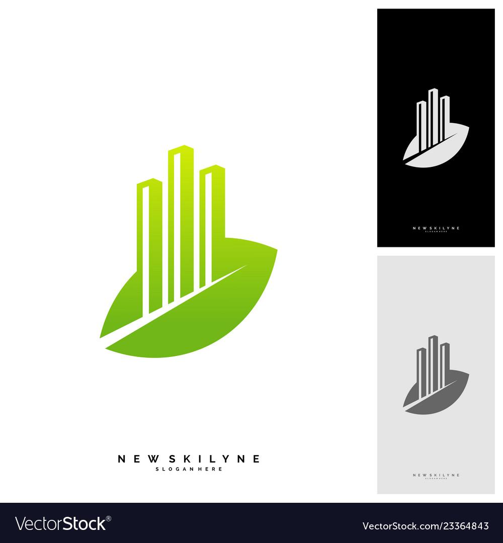 Green city logo concepts symbol icon of