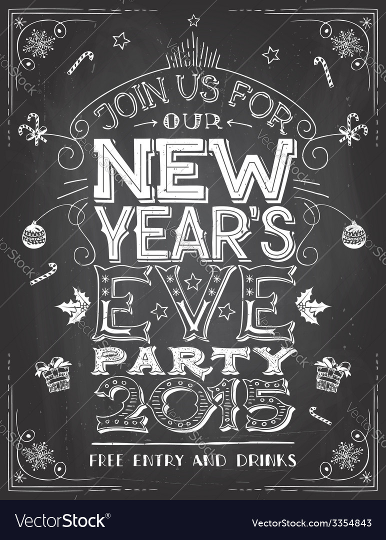 New Years Eve party invitation on chalkboard