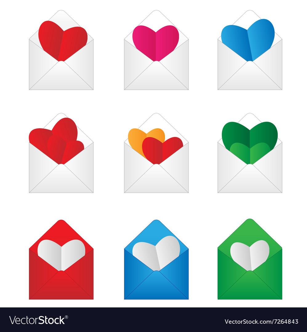 Set envelop with paper hearts inside