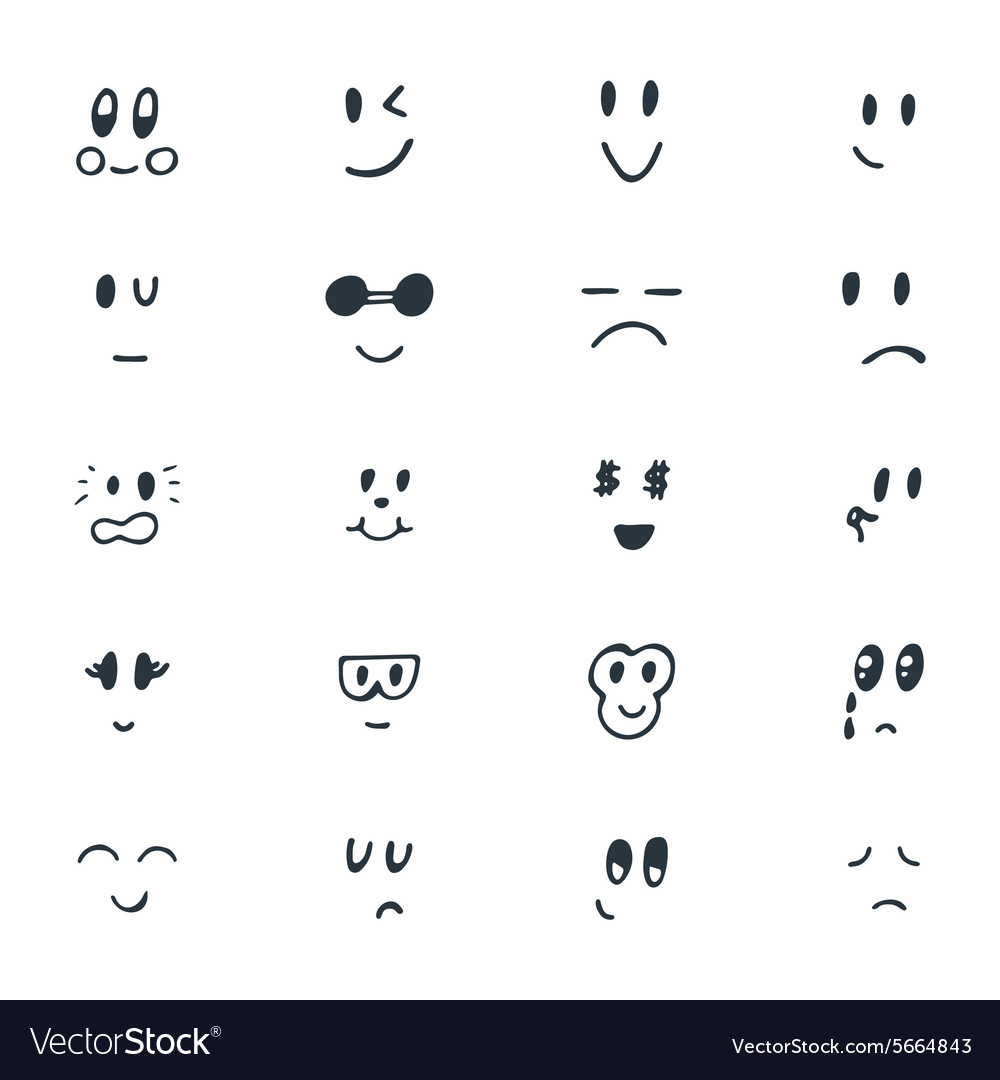 Set Of Hand Drawn Funny Smiley Faces Sketched Vector Image
