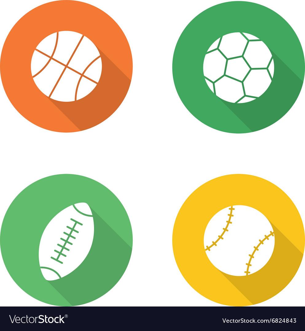 Sport balls flat design icons set