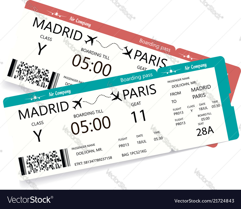 Two realistic boarding pass