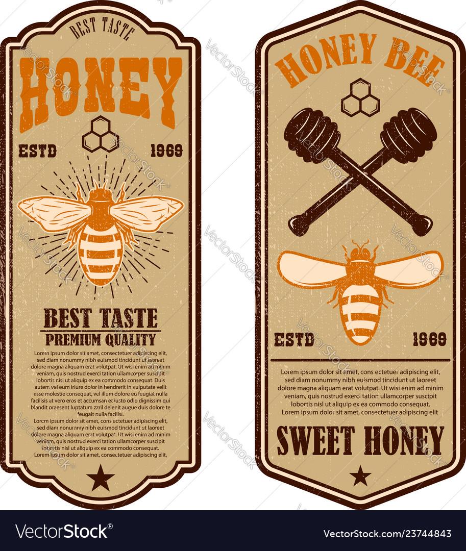 Vintage natural honey flyer templates design