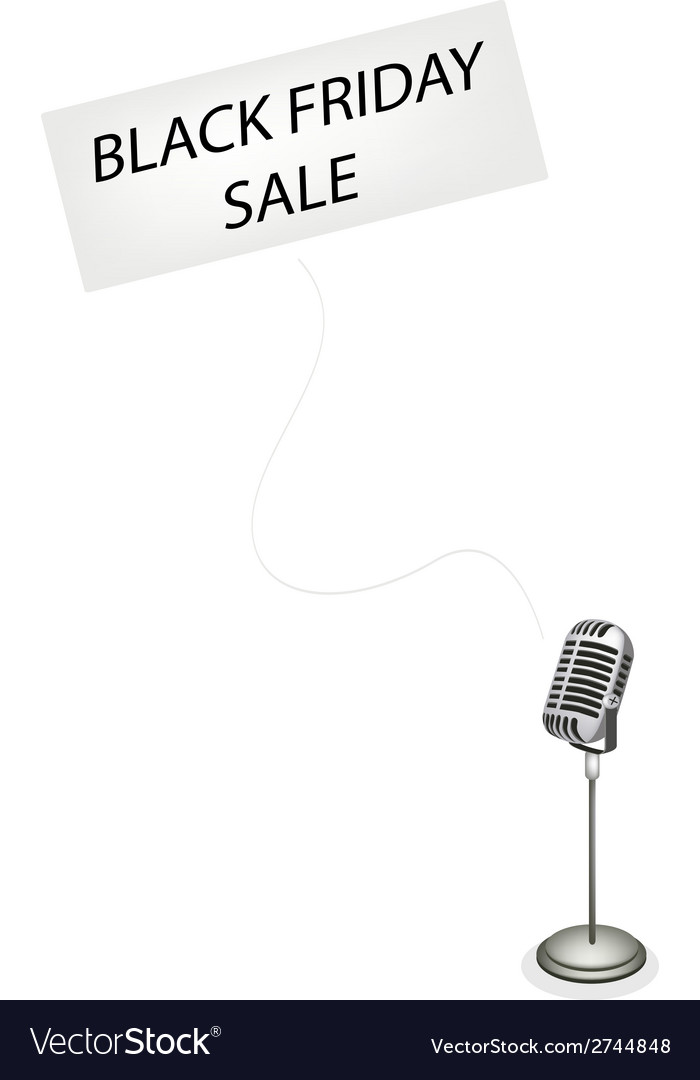A Retro Microphone Broadcasting Black Friday Sale vector image