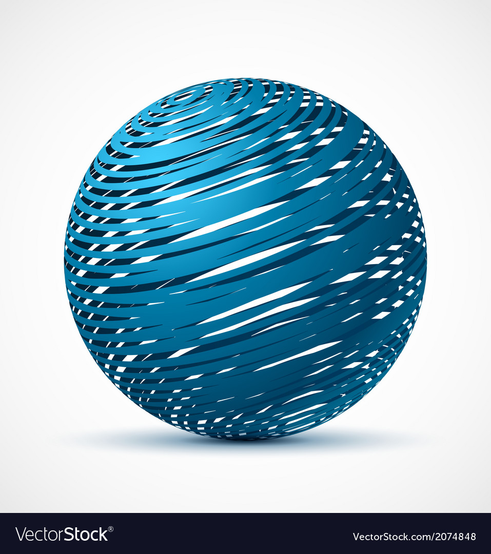 Abstract blue sphere with realistic shadow